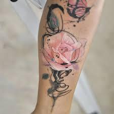 Flower Rose Leg Tattoo