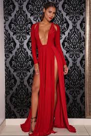 deep v high slit dress