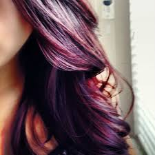 Purple Red Highlights In Brown Hair