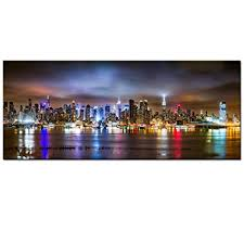 new york city canvas. Contemporary Canvas Sea Charm  New York City Canvas Wall ArtManhattan Skyline Panorama On  Cloudy Night To L