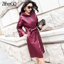 ซ อท ไหน 2018 new fashion women autunm winter purple faux leather jackets lady long fashion outerwear hooded coat with belt