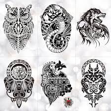 Black Wolf Lion Totem Impermeabile Autoadesivo Del Tatuaggio Temporaneo Gufo Potere Maori Flash Tatuaggi Body Art Braccio Tatuaggio Uomini Finti