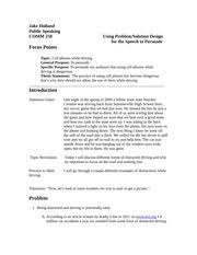 informative speech outline informative speech outline template  4 pages persuasive speech texting and driving