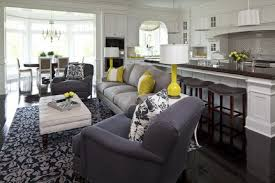 Dark Modern Sofa Furniture Sets And Open Plan Kitchen In Small