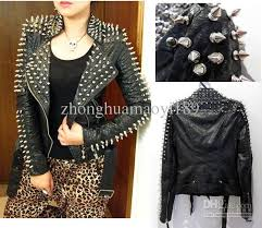 fashion women rock spike rivets studded motorcycle lapel serpentine women studded black sheep leather jacket