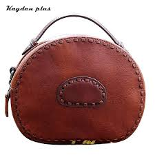 cross bags for women lady new leather handbag shoulder women small round bag girls handmade high quality cross purses designer purses from palex