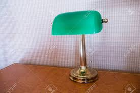 Retro Green Desk Lamp On Wooden Table Stock Photo Picture And
