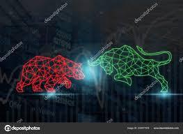 Polygonal Bull Bear Shape Writing Lines Dots Stock Market