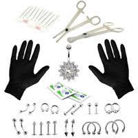 41 Piece Fashion <b>Puncture</b> Kit <b>Human</b> Body Piercing <b>Jewelry Set</b> Tool