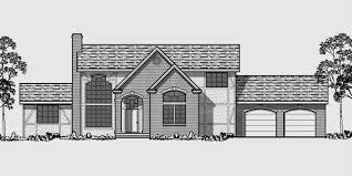 tudor house plans. House Front Color Elevation View For 9912 Tudor Plan, Master Bedroom On Main Floor Plans