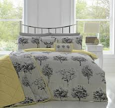 appletree woodlands reversible duvet covers quilt set rothay grey yellow