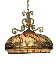 dale victorian 2 light dragonfly pendant with art glass shade antique golden sand indoor lighting pendants