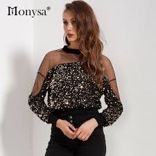 Sequin Top Women <b>2018 Autumn New</b> Arrivals <b>Fashion</b> Long ...