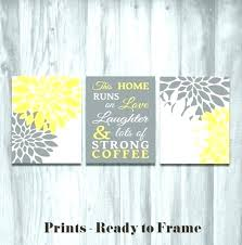 yellow and gray art yellow and gray kitchen decor grey and yellow wall art large size
