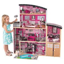 Image is loading Pink-Barbie-Dollhouse-Wooden-Large-Mansion-Doll-Furniture-