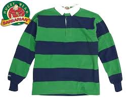 green rugby shirt navy red and white