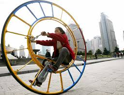 photo essay diy airplanes submarines lamborghini and other a w pedals a unicycle that resembles a human hamster wheel at a park in shanghai