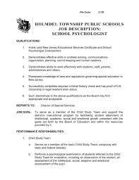 Holmdel Township Public Schools Job Description School