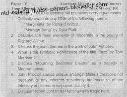 american literature paper v part i old solved and guess papers 2007 american literature