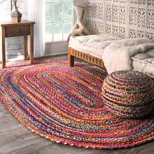 home interior opportunities red braided rug 7 2 x 9 4 wool oval country braid