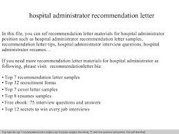 recommendation letter for case manager hospital administrator recommendation letter