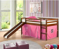 bunk bed with slide for girls. Low Loft Bed With Pink Tent \u0026 Slide Espresso | Beds Kids, Playhouse And Bunk For Girls