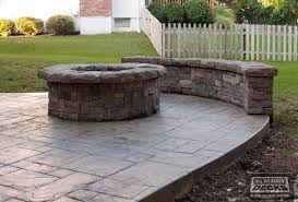 concrete patio with fire pit. Leeder - Cedar Deck In Kansas City With Stamped Concrete Patio And Firepit. Traditional- Fire Pit P