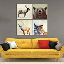 hipster wall art watercolor wall picture canvas painting animal lion bear panda art prints poster hipster