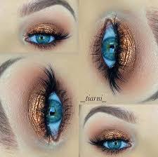 bronze eye makeup look for blue eyes