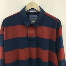 mens xl ll bean long sleeve striped rugby shirt blue red 5c
