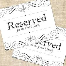Reserved Signs Templates Reserved Chair Signs Template Printable Table Templates