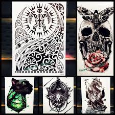 большой боди арт рукава рукава временная наклейка татуировки Fast Furious Dwayne Rock