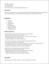 Lab Technician Resume. Professional Chemistry.
