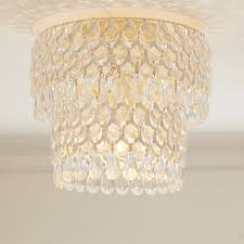 pottery barn clear acrylic round flushmount chandelier
