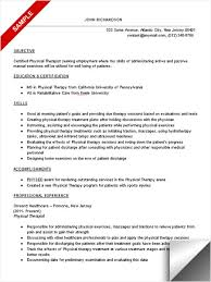 Resume Examples Physical Therapist Resume Sample Free Mental Health