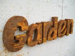 rusty metal 3d garden sign decorative wall art