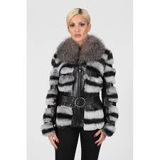 women s black white rex fur real leather jacket with silver fox collar