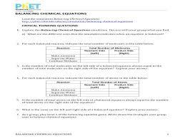 balancing chemical equations fun worksheet activities balance the following for grade 7 level 1