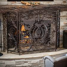 uniflame single panel antique gold cast aluminum fireplace screen hayneedle