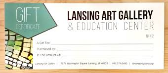 Gift Certificate Sign Lansing Art Gallery Education Center Gift Certificates