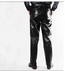2203 black genuine leather pants men fashion casual plus size motorcycle pants trousers men pu leather