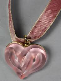 lalique frosted pink glass twisted heart pendant lalique frosted pink glass twisted heart pendant