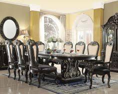 aberdeen 112 ebony gold extendable 9 pc dining table set