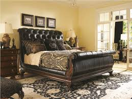 brown leather bedroom furniture. Leather-sleigh-bed-bedroom-set- Brown Leather Bedroom Furniture D