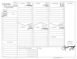 Planner Sheet Weekly Planner Sheets Funusual Suspects