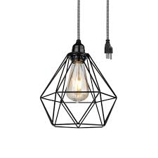 bp0019 1cp black industrial swag plug in pendant light with geometric wire