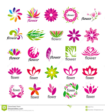 Floral Logo Design Free Download Vector Multicolored Floral Logos Stock Vector Illustration