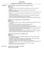 Marketing Manager Central Resume Samples Velvet Jobs