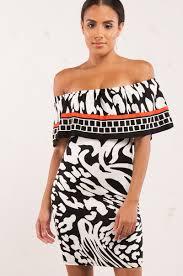 Black White Red Pattern Off Shoulder Dress