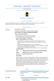 Example Of Cv Resume Magnificent Automation Engineer Resume Samples VisualCV Resume Samples Database